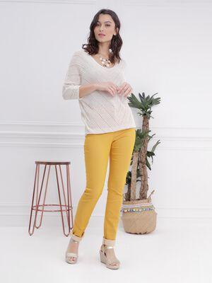 Pantalon ajuste taille haute jaune or femme