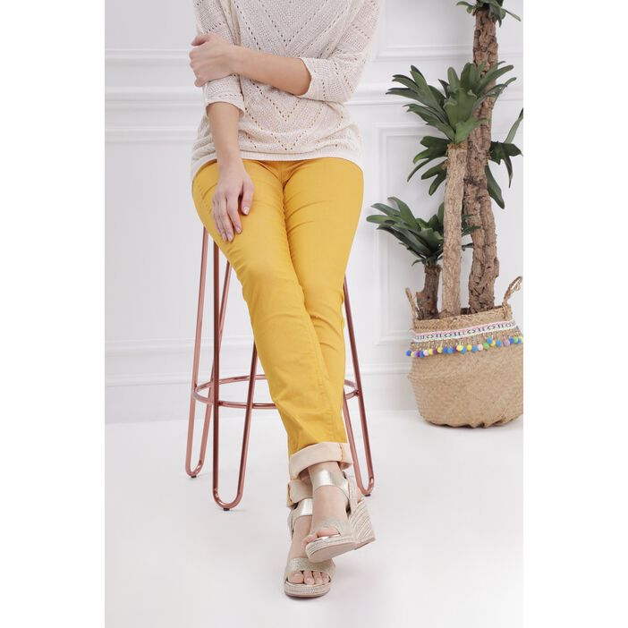 Pantalon ajusté taille haute jaune or femme
