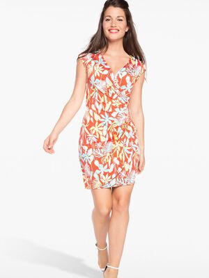 Robe maille maillot imprimee rouge corail femme