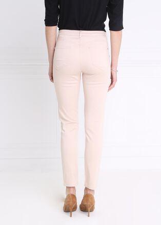 Pantalon taille standard slim a ponts beige femme