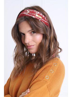 Foulard carre effet plisse bordeaux femme