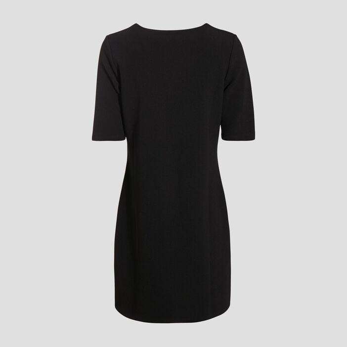 Robe droite avec col en V noir femme
