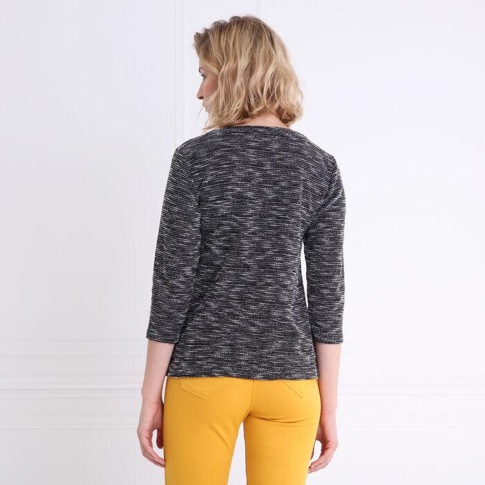 T-shirt col rond 2 en 1 veste flammée noir femme