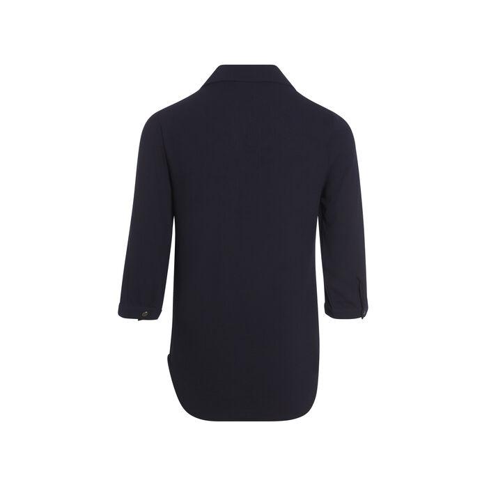 Chemise nouée taille boutonnée bleu foncé femme