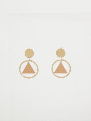 Boucles doreilles anneaux avec triangle couleur or femme