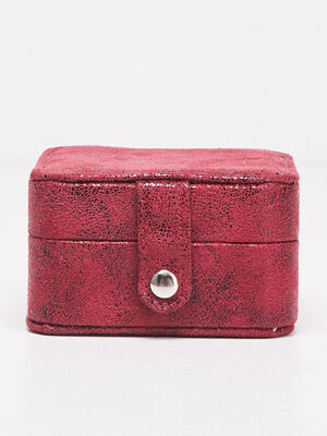 Boite a bijoux avec miroir rose framboise femme