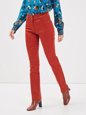 Pantalon droit taille standard rouge fonce femme
