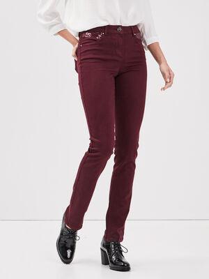 Pantalon evase taille basculee violet fonce femme