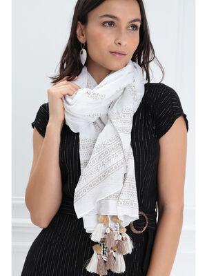 Foulard broderie coquillages blanc femme