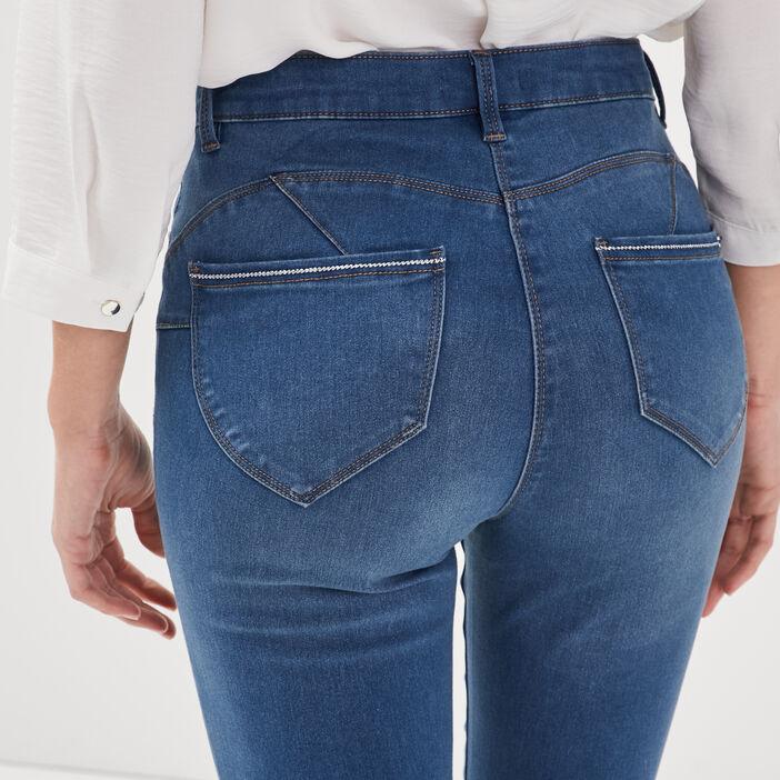 Jeans ajusté taille haute denim double stone femme