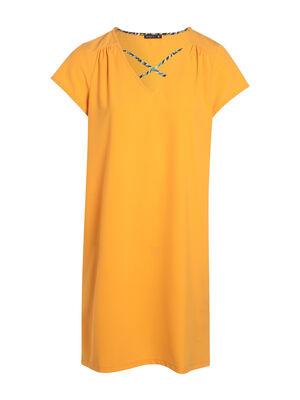 Robe unie details imprime jaune or femme