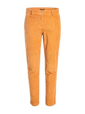 Pantalon chino taille baculee camel femme