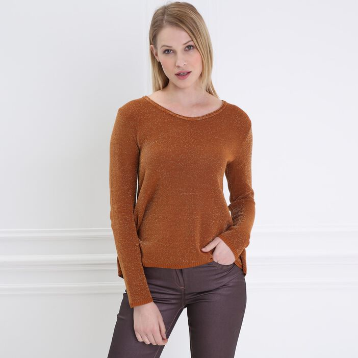 Pull manches longues bimatière marron clair femme