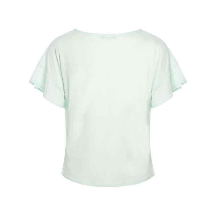 T-shirt léger à nouer devant vert clair femme