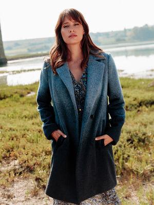 Manteau droit boutonne bleu femme