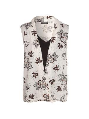 T shirt imprime fleur sans manches blanc femme