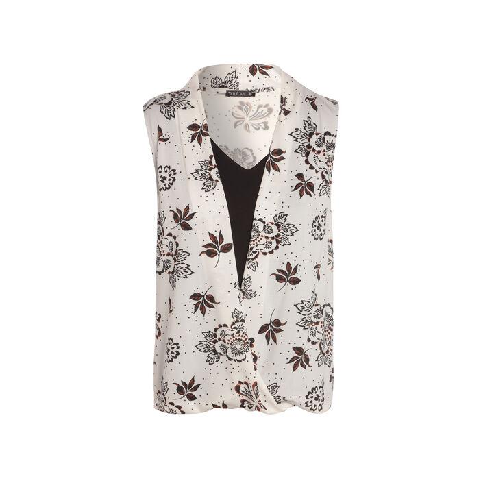 T-shirt imprimé fleur sans manches blanc femme