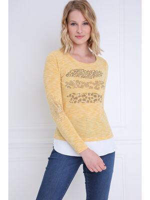 T shirt manches longues 2 en 1 jaune or femme