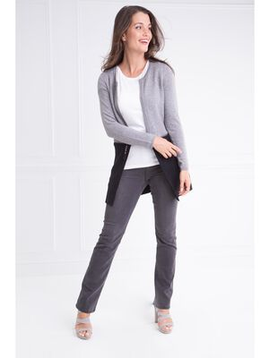 Gilet col rond bimatiere zip gris clair femme