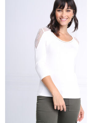 T shirt manches 34 dentelle ecru femme