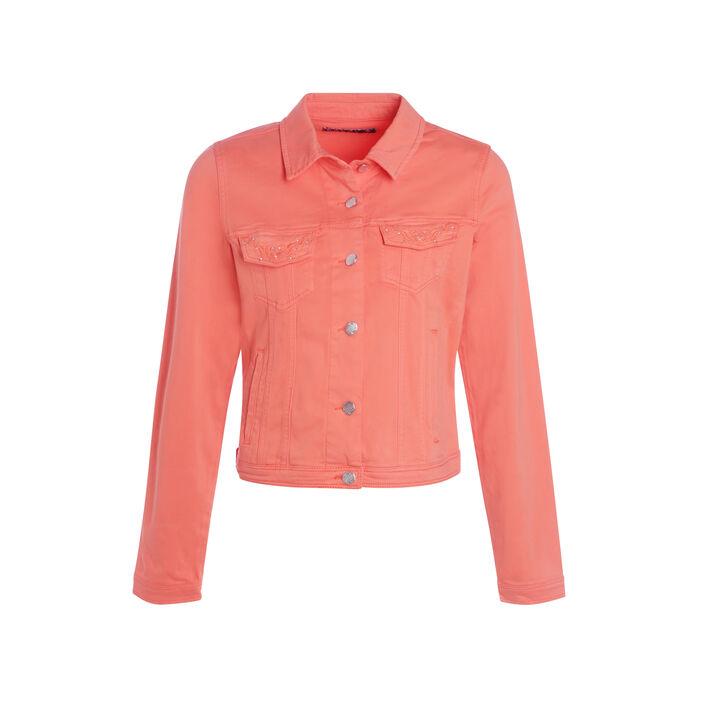 Veste droite courte brodée orange corail femme