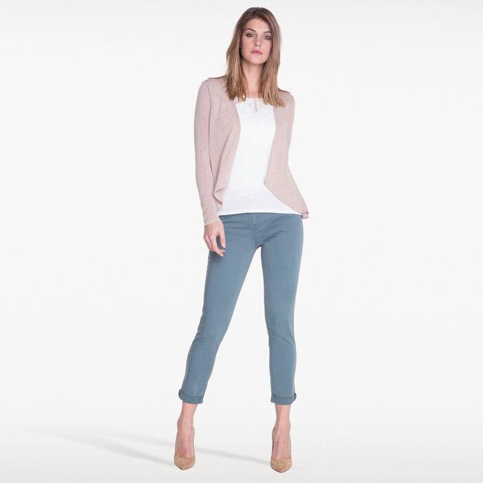 T-shirt façon 2 en 1 beige femme