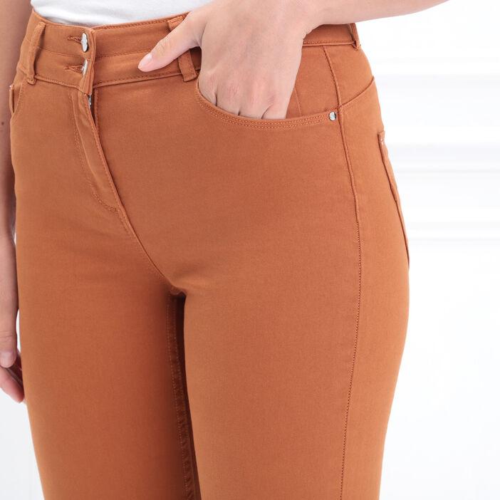 Pantalon 7/8 taille standard marron femme