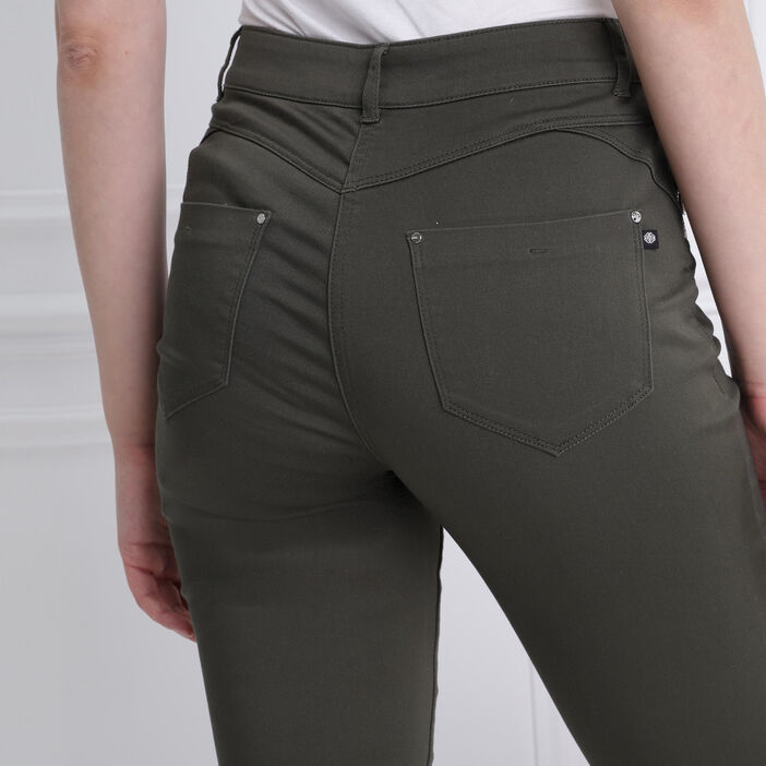 Pantalon ajusté zip poches vert kaki femme
