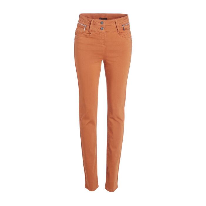 Pantalon ajusté taille haute marron femme