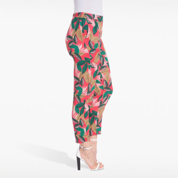Pantalon fluide imprimé rouge femme