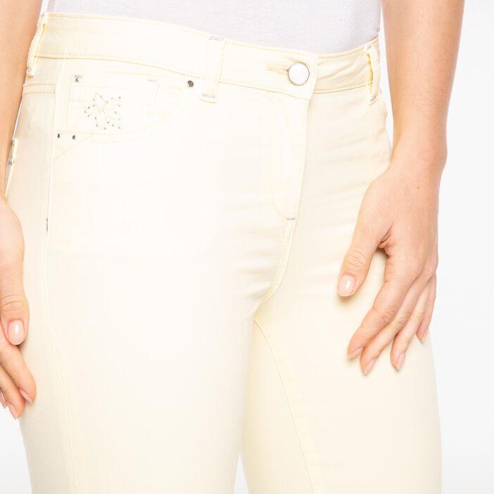 Pantalon ajusté liserés fantaisie jaune clair femme