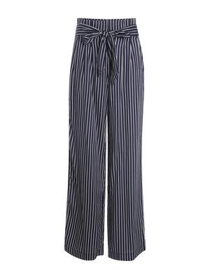 Pantalon fluide taille haute bleu fonce femme