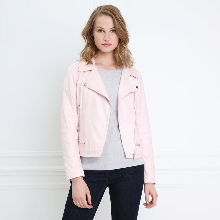 Veste esprit motard zippée rose poudrée femme