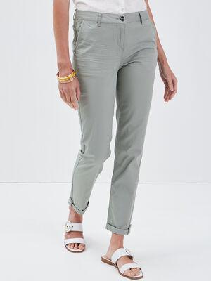 Pantalon chino ajuste vert clair femme