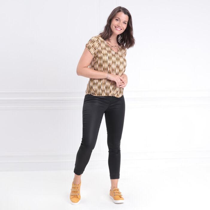 Blouse manches courtes froncée jaune or femme