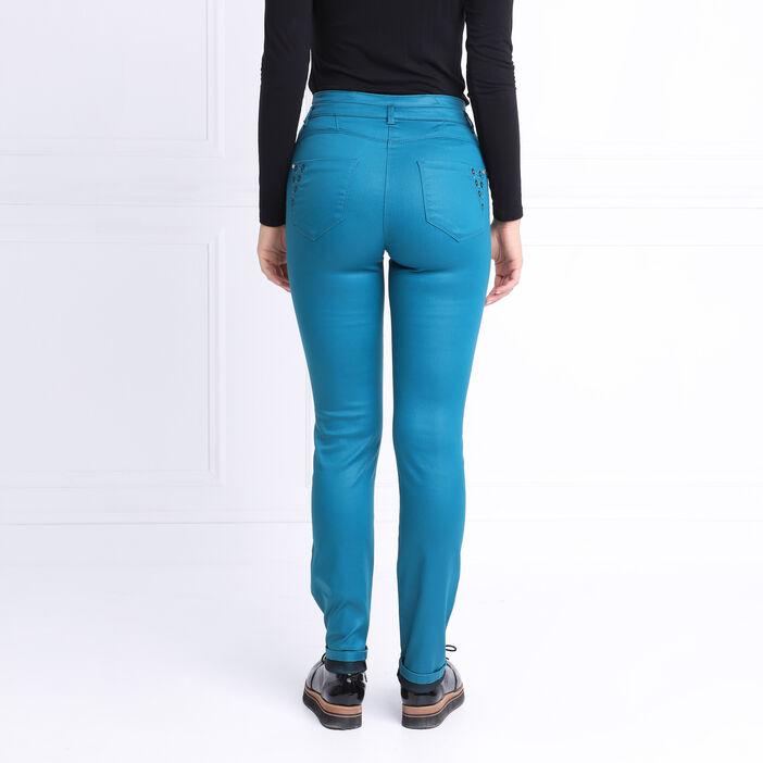 Pantalon ajusté à broderies bleu canard femme