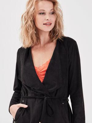 Veste droite suedine noir femme