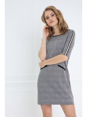 Robe droite a col rond gris fonce femme