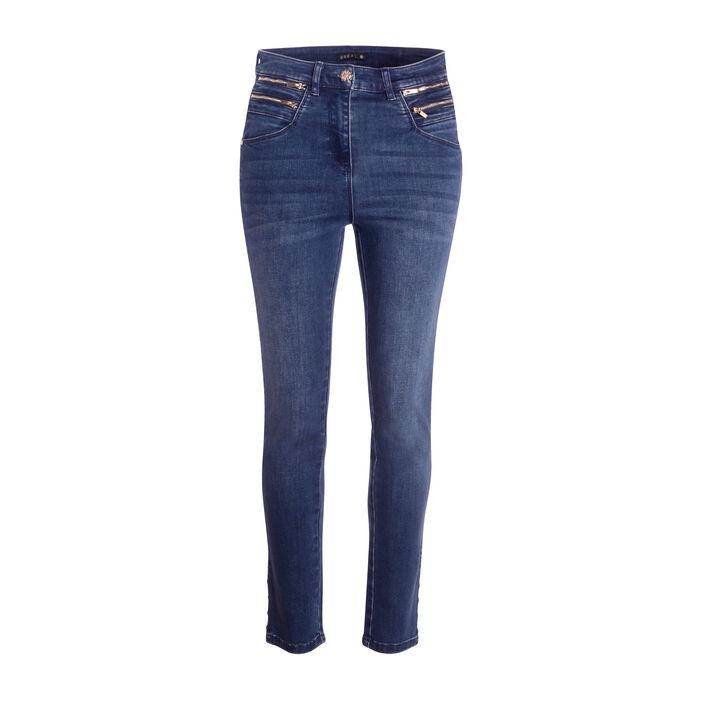 Jeans ajusté poches zippées taille haute denim brut femme