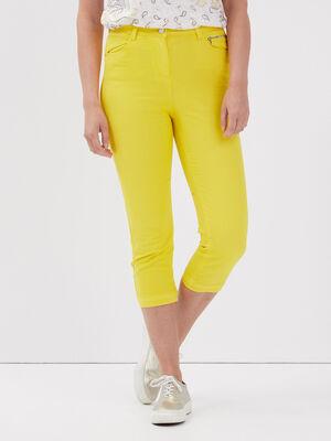 Pantacourt taille haute jaune femme