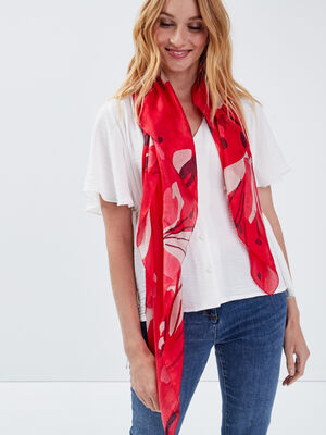 Foulard carre rouge femme