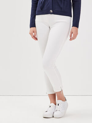 Pantalon 78 satin ecru femme