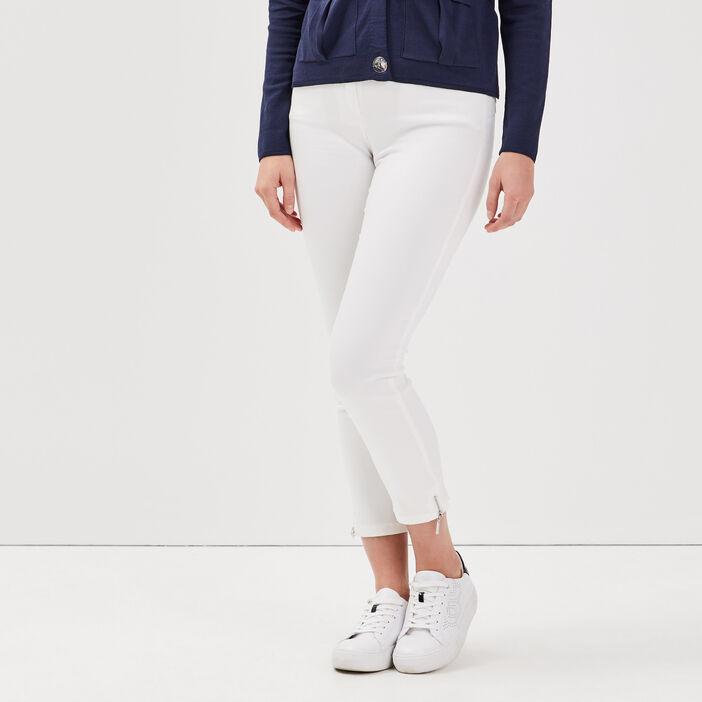 Pantalon 7/8 satin ecru femme