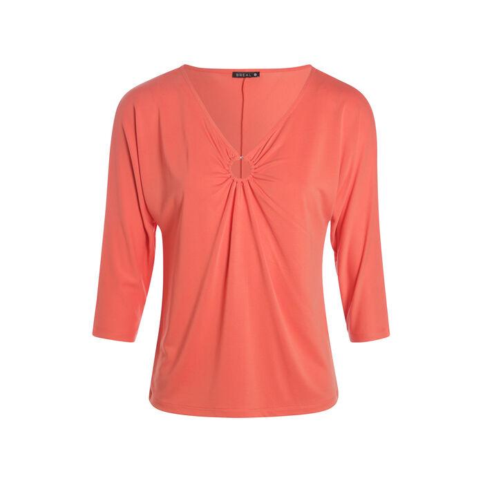 T-shirt manches 3/4 anneau bas de col orange corail femme