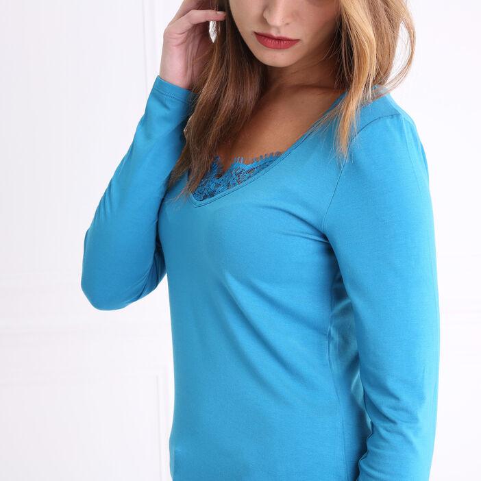 T-shirt col en V et dentelle bleu femme