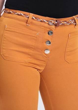 Pantalon ajuste taille basculee jaune moutarde femme