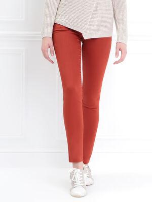 Pantalon enduit ajuste 3 boutons rouge femme