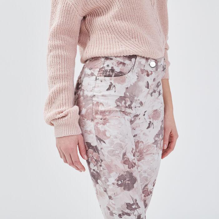 Pantalon léger imprimé ecru femme