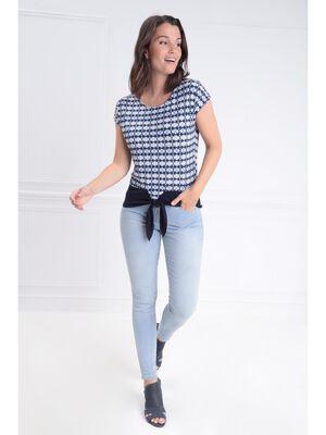 Jeans ajuste taille basculee denim bleach femme