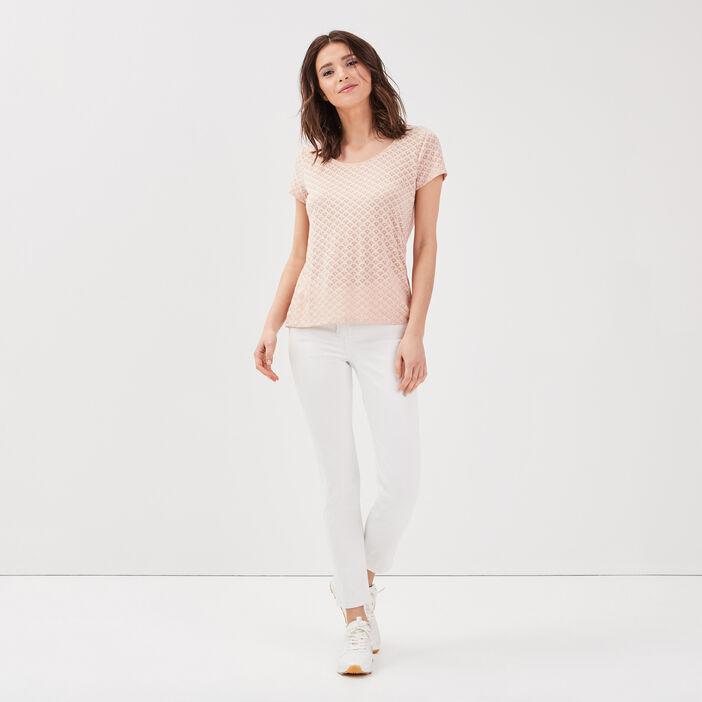 T-shirt manches courtes rose poudrée femme
